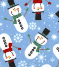 Snuggle Flannel Fabric -Christmas Snowman