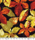 Harvest Cotton Fabric-Harvest Leaves And Words Wide