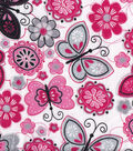 Snuggle Flannel Fabric -Butterfly Flowers