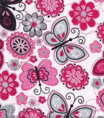 "Snuggle Flannel Fabric 42""-Butterfly Flowers"