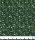 Christmas Cotton Fabric-Green Pine Tree Landscape