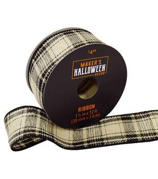 Maker's Halloween Decor Ribbon 1.5''x12'-Black, Gold & Ivory Plaid