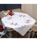 Vervaco Tablecloth Stamped Cross Stitch Kit 32\u0022X32\u0022-Christmas Gnomes