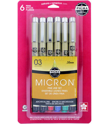 Pigma Micron 03 6 pk Fine Line Pens-Black, Blue, Red, Green & Sepia