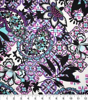Fast Fashion Bubble Crepe Knit Fabric-Purple Ethnic Floral
