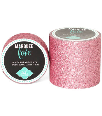 "Heidi Swapp Marquee Love Washi Tape 2""-Pale Pink Glitter, 8'"