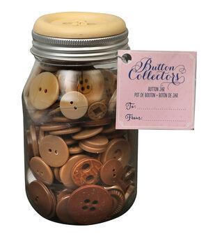 Button Collector Mason Jar-Brown Ombre