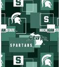 Michigan State University Spartans Cotton Fabric 43\u0027\u0027-Modern Block