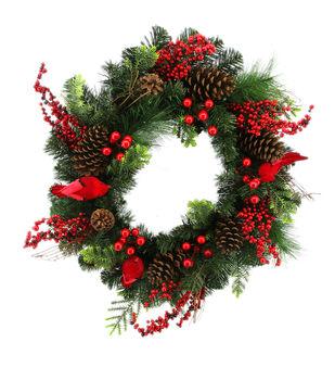 Handmade Holiday Christmas Pinecone, Red Cardinal & Berry Full Wreath