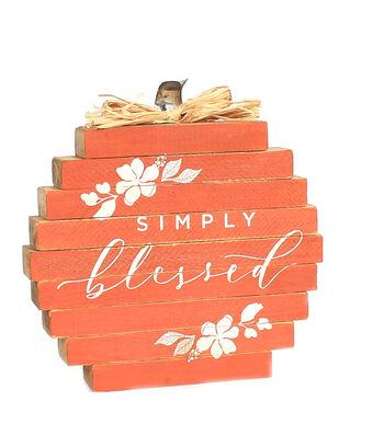 Simply Autumn Pumpkin Word Block-Simply Blessed on Orange