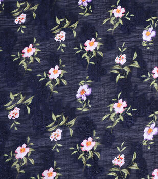Check It Navy Scattered Floral Jaquard Poly Yoryu Fabric 57""
