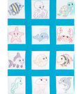 Stamped White Quilt Blocks 9\u0022X9\u0022 12 Pack-Under The Sea