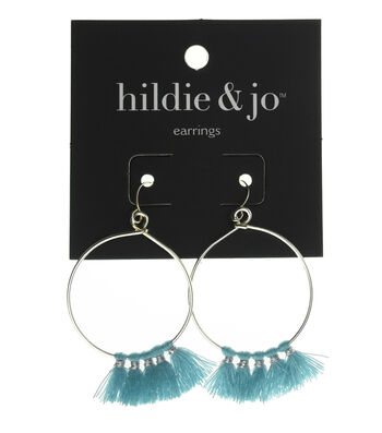 hildie & jo Silver Hoop Earrings with Tassel