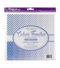 Hunkydory Color Families Paper Pad 8X8 48/Pk-Blue Spots & Stripes