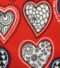 Doodles Juvenile Apparel Fabric-Black & White Hearts