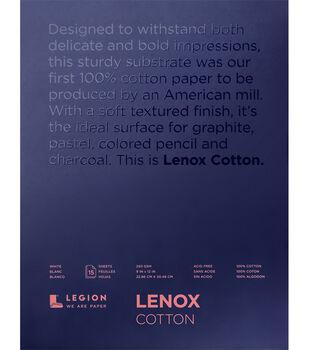 Legion Paper Lenox 15-sheet 9''x12'' 90 lb Cotton Paper Pad-White