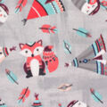 Anti-Pill Plush Fleece Fabric-Native Woodland Teepee