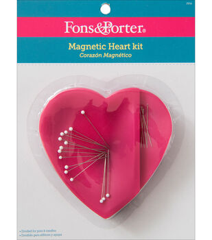 Fons & Porter Magnetic Heart Caddy With 20 Pins & Needles