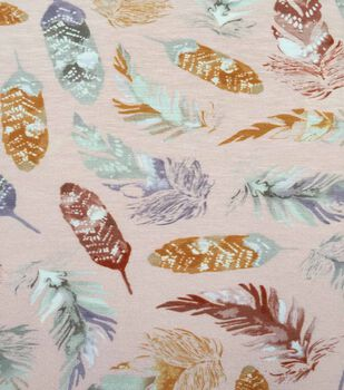 Knit Fabric 57''-Feathers on Pink