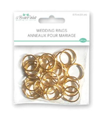 """Wedding Rings .75"""" 24/Pkg-Gold"""