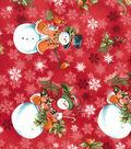Christmas Cotton Fabric-Snowmen on Red
