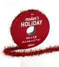 Maker\u0027s Holiday Christmas Traditional Holiday Tinsel Ribbon 3/8\u0027\u0027x9\u0027-Red