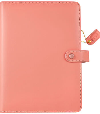 """A5 Faux Leather 6-Ring Planner Binder 7.5""""X10""""-Pretty Pink"""