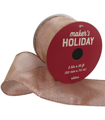 Maker's Holiday Christmas Metallic Ribbon 2.5''x25'-Rose Gold Texture