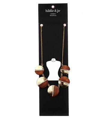 hildie & jo 16'' Brushed Metal & Wooden Disk Necklace