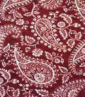 Knit Fabric 57\u0027\u0027-Cracked White Paisley on Burgundy
