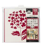 FolkArt 26 pk 12''x12'' Die-cut Paper Stencils-Flowers, , hi-res