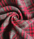 Perfectly Plaid Reversible Fabric -Red Grey Herringbone