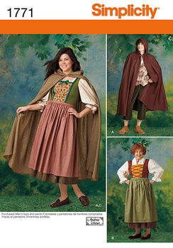 Simplicity Pattern 1771A Adult Costumes-Size 8-18/XS-XL