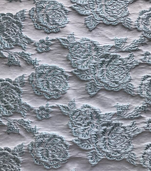 Sew Sweet Brocade Fabric 52''-Icy Blue Rose on White