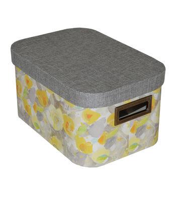 Organizing Essentials Medium Oval Lidded Box-Yellow Floral
