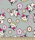 Kitty and Flowers Print Fabric