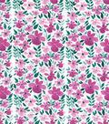 Premium Cotton Print Fabric 43\u0027\u0027-Pink Flower & Stems