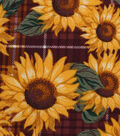 Harvest Cotton Fabric 43\u0022-Sunflower Plaid