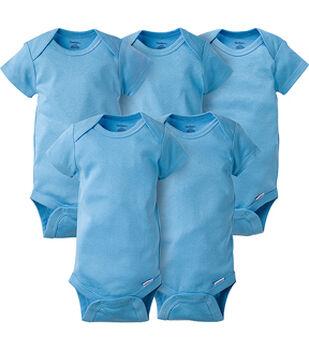 Gerber 5 pk Short Sleeve Onesies Bodysuits-Blue