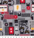 Anti-Pill Plush Fleece Fabric-Game On Red Black