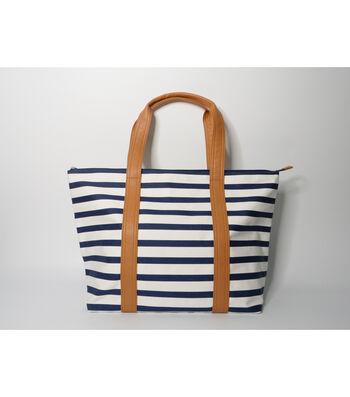 Tote Bag-Navy & Tan Stripe