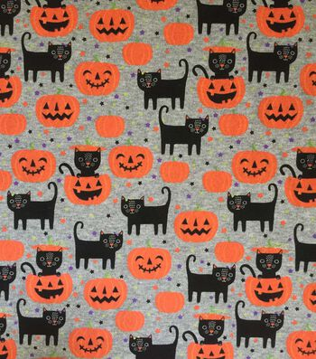 "Halloween Cotton Interlock Fabric 57""-Gray Cats & Pumpkins"