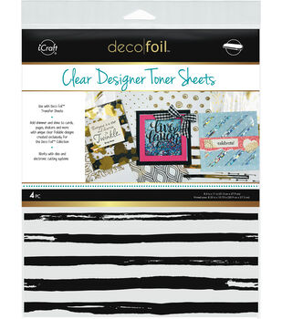 Deco Foil 4 pk 8.5''x11'' Clear Designer Toner Sheets-Distressed Lines