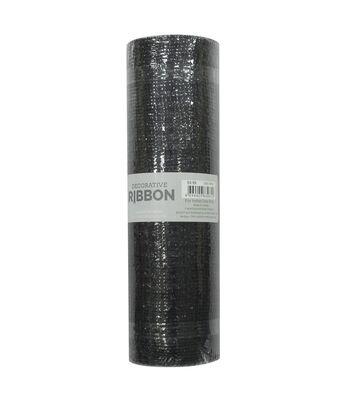 Decorative Ribbon Metallic Deco Mesh 10''x10 yds-Black