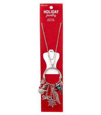 hildie & jo Holiday Jewelry 28'' Silver Necklace with Multi Charms