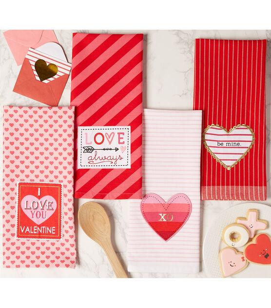 Design Imports Kitchen Towel Set Valentines, , hi-res, image 4