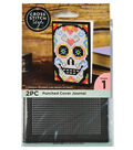 Cross Stitch Style Punched Cover Journal-Black