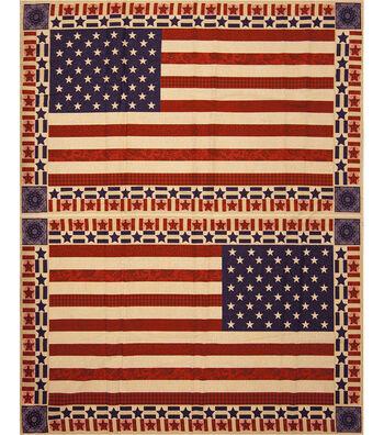 "Patriotic Cotton Fabric 43""-Flag Banner Panel"