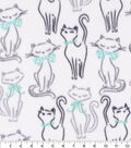 Anti-Pill Plush Fleece Fabric-Sketched Cat With Bows