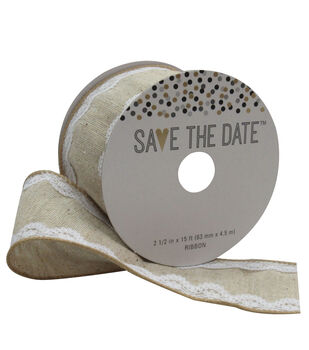 Save the Date 2.5'' X 15' Ribbon-Lace Burlap